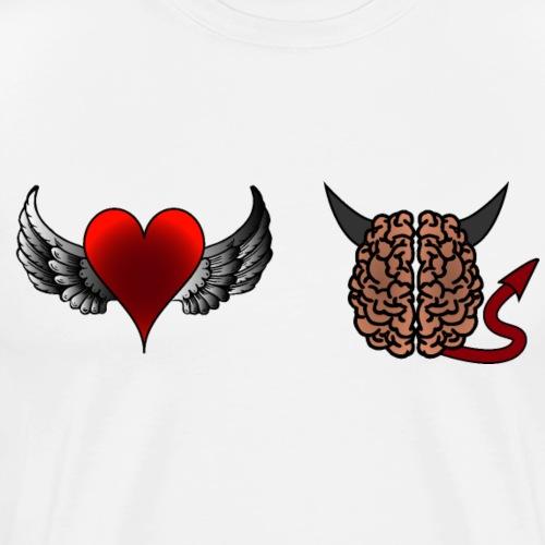 Herz Engel Hirn Teufel lustiges Motiv Geschenk - Männer Premium T-Shirt