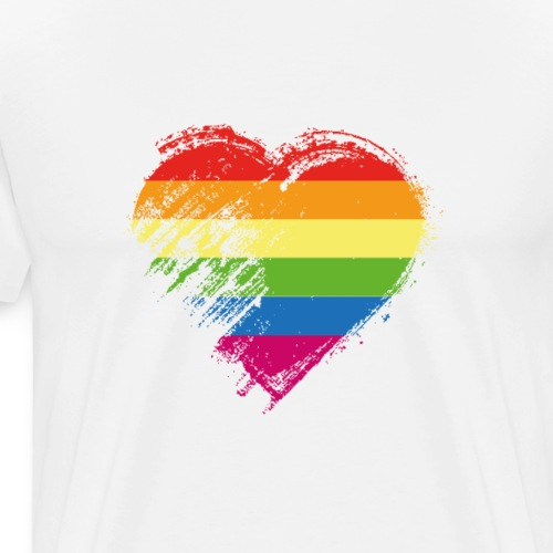 Grungy I Love LGBT Heart Flag - Men's Premium T-Shirt