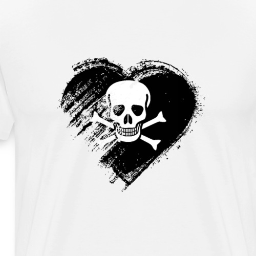 Grungy I Love Pirates Heart Flag - Men's Premium T-Shirt