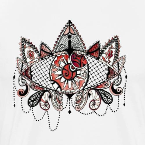 Oeil dentelle Rouge Version Blanc - T-shirt Premium Homme