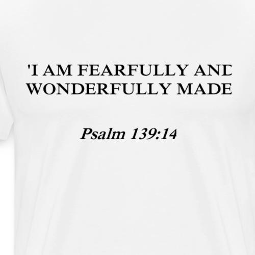 Psalm 139:14 black lettered - Mannen Premium T-shirt