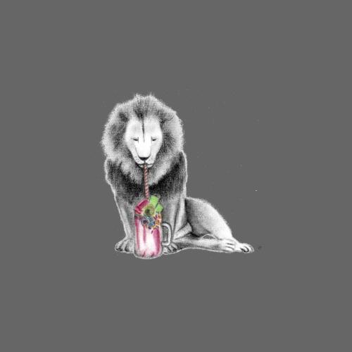 Lion with Milkshake - Men's Premium T-Shirt