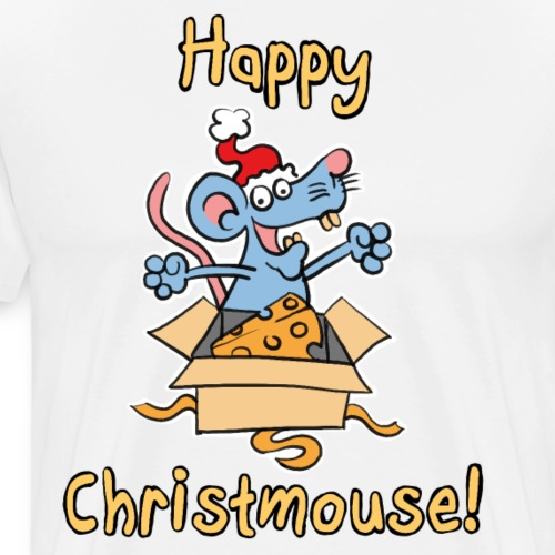 Happy Christmouse! - Cute Cartoon Christmas Mouse - Men's Premium T-Shirt
