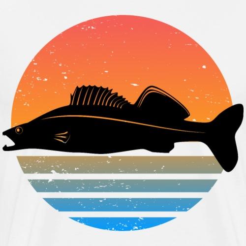 Retro Zander Angel Angler Raubfisch Geschenk Fisch - Männer Premium T-Shirt