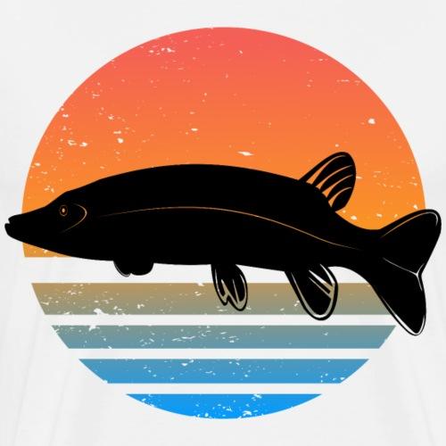 Retro Hecht Angeln Fisch Wurm Angler Raubfisch - Männer Premium T-Shirt