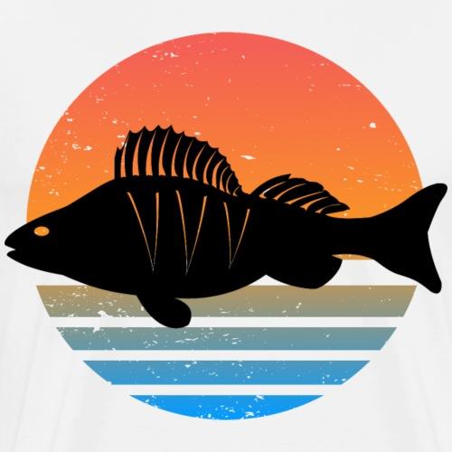 Retro Barsch Angeln Fisch Wurm Angler Raubfisch - Männer Premium T-Shirt