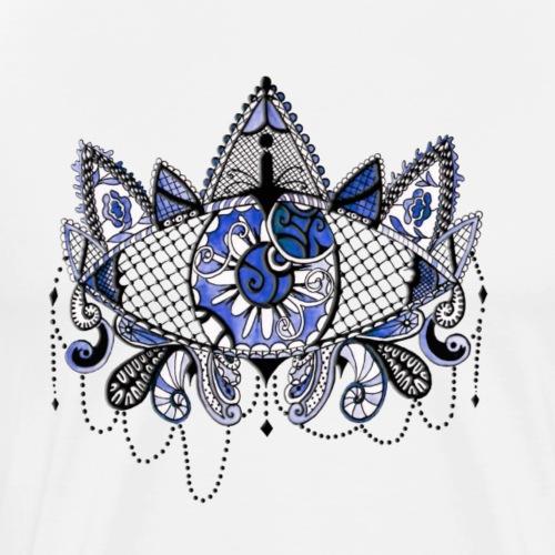 Oeil dentelle Bleu Version Blanc - T-shirt Premium Homme