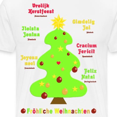 Fröhliche Weihnachten 1 auf 7 Sprachen - Männer Premium T-Shirt