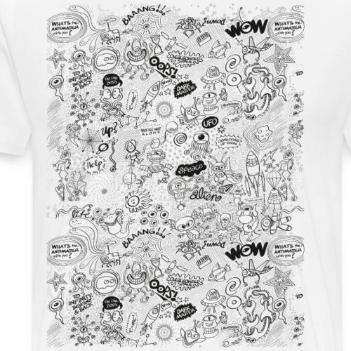 Aliens, celestial bodies and odd machines pattern - Men's Premium T-Shirt
