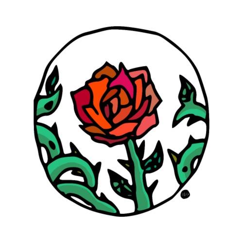 Rose Rouge Piquante en Médaillon