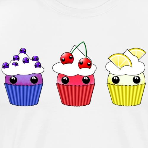 three kawaii cupcakes blueberry cherry lemon - Premium-T-shirt herr
