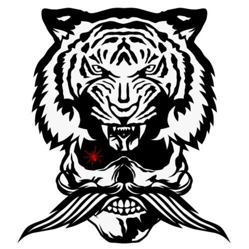 tete de mort hipster crane moustache coiffe tigre - T-shirt Premium Homme