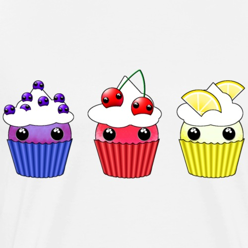 three kawaii cupcakes blueberry cherry lemon - Men's Premium T-Shirt