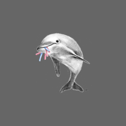 Dolphin eating Yalla Yalla - Men's Premium T-Shirt