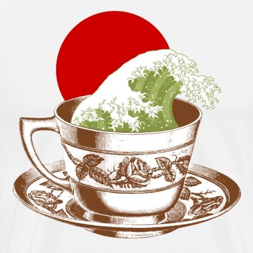 Té japonés matcha con ola japonesa - Camiseta premium hombre