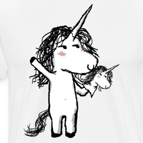 Eenhoorn met zijn gelukkige vriend - Mannen Premium T-shirt
