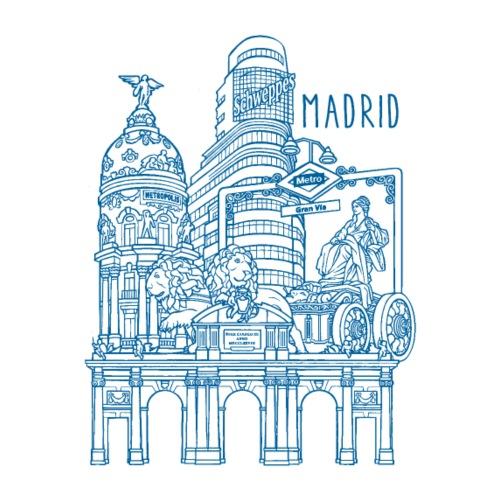 MADRID COLLAGE AZUL - Camiseta premium hombre