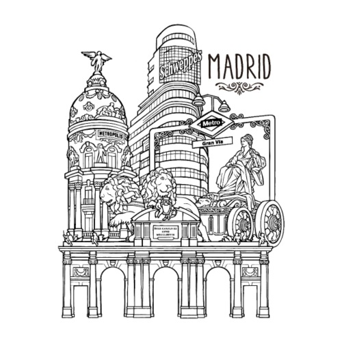 MADRID COLLAGE NEGRO - Camiseta premium hombre