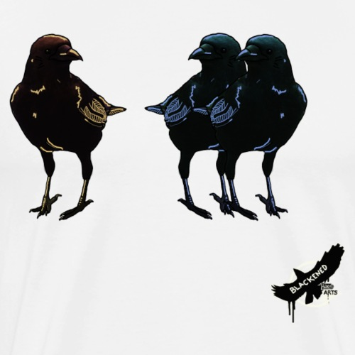Crows by BlackenedMoonArts, with logo - Herre premium T-shirt