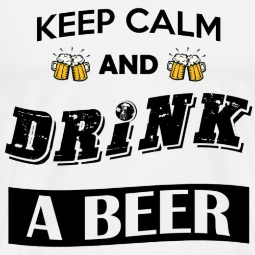 Keep calm and drink a beer (black font) - Maglietta Premium da uomo