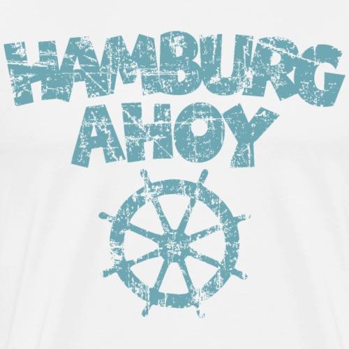 Hamburg Ahoy Steuer (Vintage/Hell) - Männer Premium T-Shirt