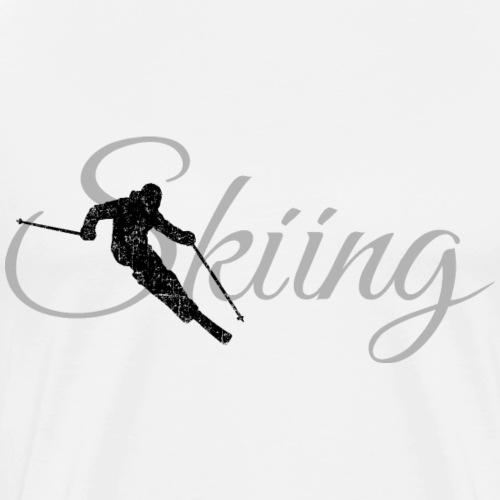Skiing Skifahrer (Grau) Wintersport Apres-Ski - Männer Premium T-Shirt