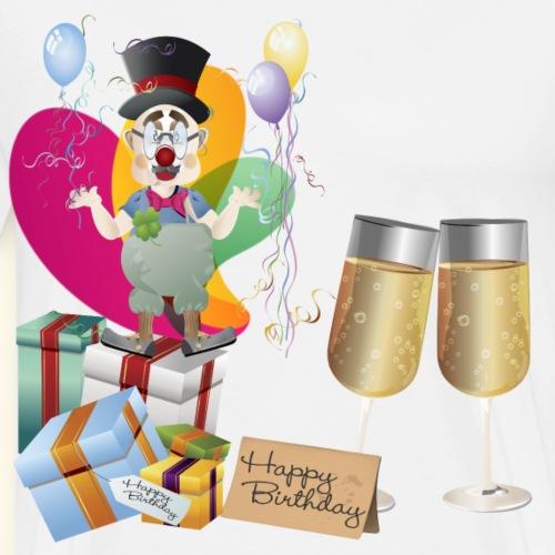 Happy Birthday Clown balloons presents champagne - Men's Premium T-Shirt
