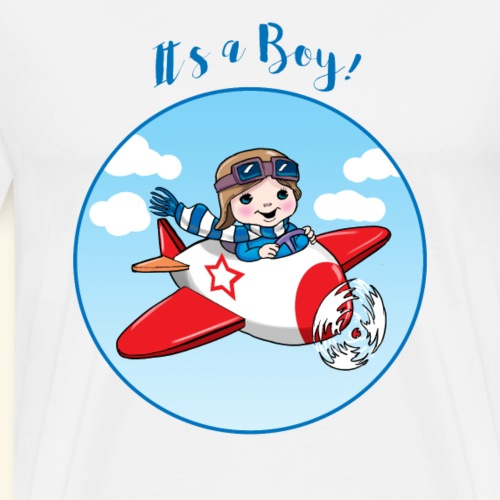 Baby Shower It is a Boy flying an aeroplane - Men's Premium T-Shirt