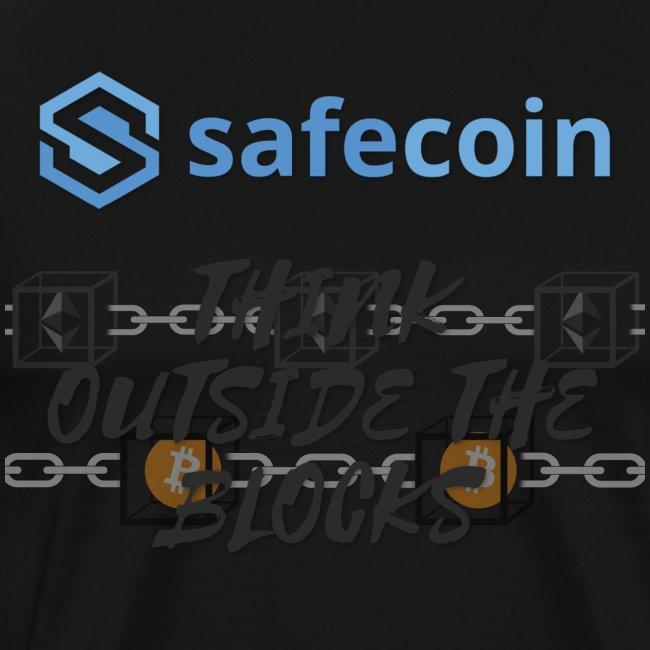 SafeCoin; Think Outside the Blocks (black + blue)