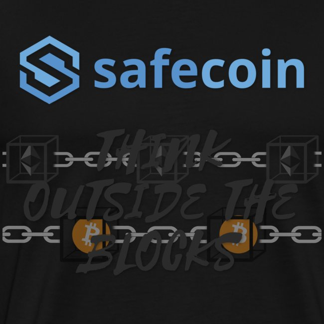 SafeCoin; Think Outside the Blocks (black + blue)