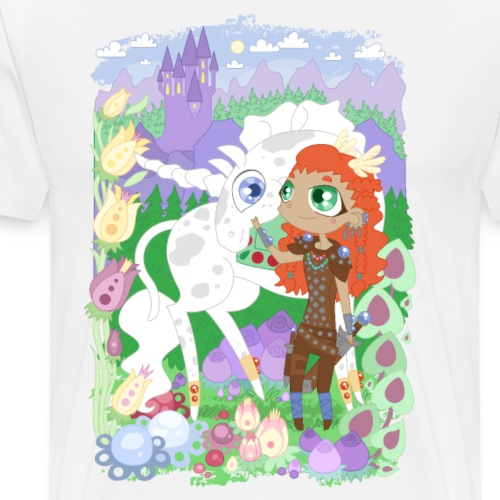 the Valkyrie and the Unicorn below the Castle - Premium-T-shirt herr