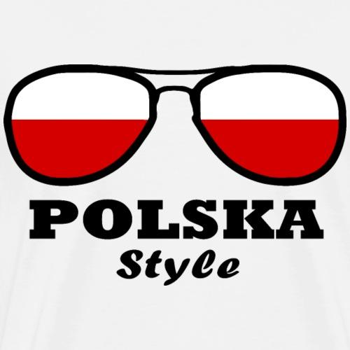 Poland Flag - Eyeglasses Styl - Men's Premium T-Shirt