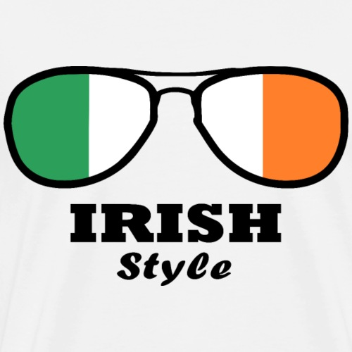 Ireland Flag - Irish Style Glasses - Men's Premium T-Shirt