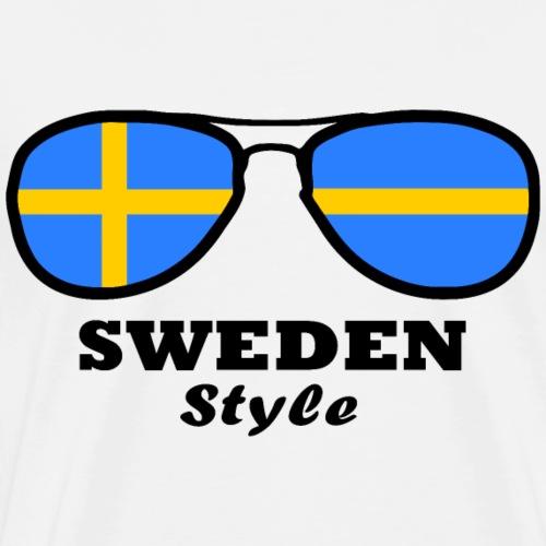 Sweden Flag - Sweden Style Glasses - Men's Premium T-Shirt
