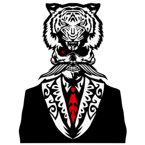 tete mort hipster tigre coiffe crane cravate costu - T-shirt Premium Homme