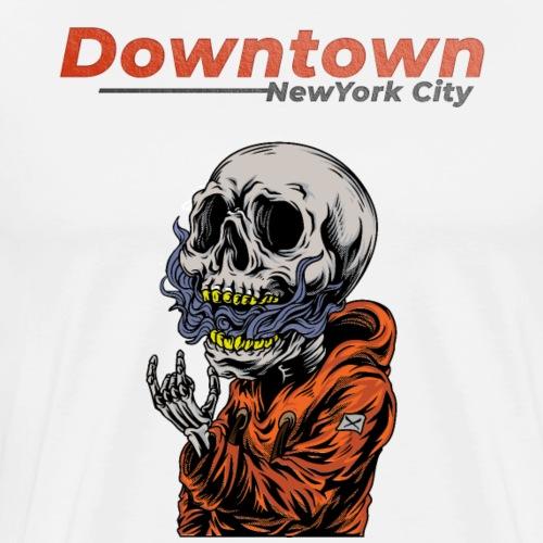 Cool Rock'in Hip Hop Skull - Downtown New York City - Men's Premium T-Shirt