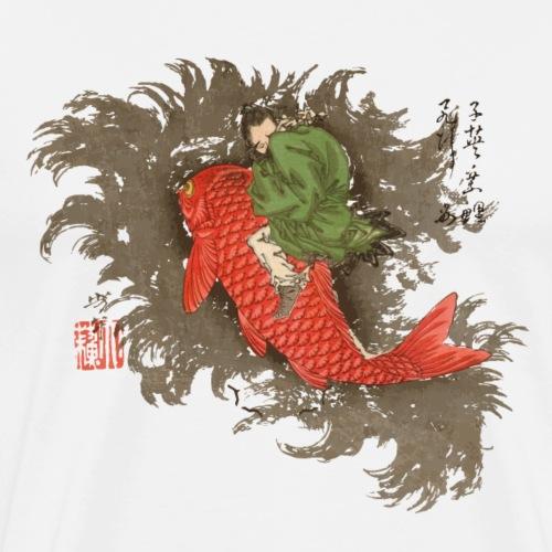 Shiei Riding a Carp - Men's Premium T-Shirt