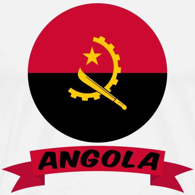 flag of Angola t shirt design ribbon banner