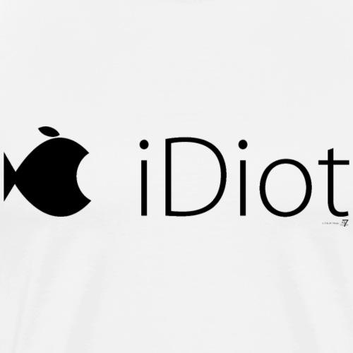 iDiot mit Fisch schwarz auf hell - Männer Premium T-Shirt