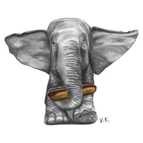 Elephant Eating Hotdog - Men's Premium T-Shirt