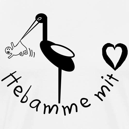 Storch Baby, Hebamme, Hebamme mit Herz - Männer Premium T-Shirt
