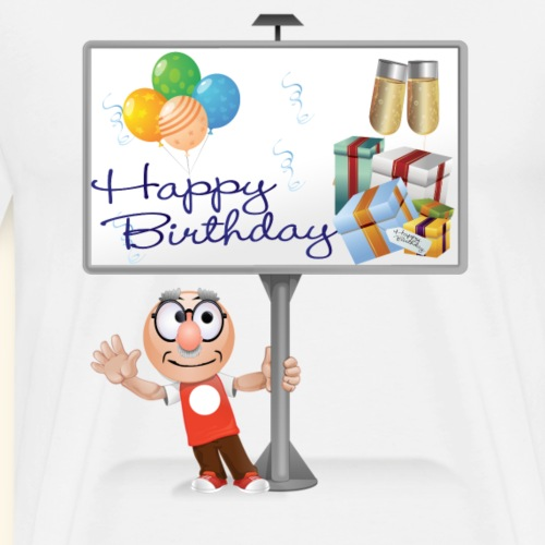 Happy Birthday Signpost with balloons - Men's Premium T-Shirt