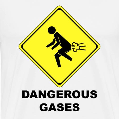 Gefährliche Gase lustiges Schild Furzen Furz - Männer Premium T-Shirt