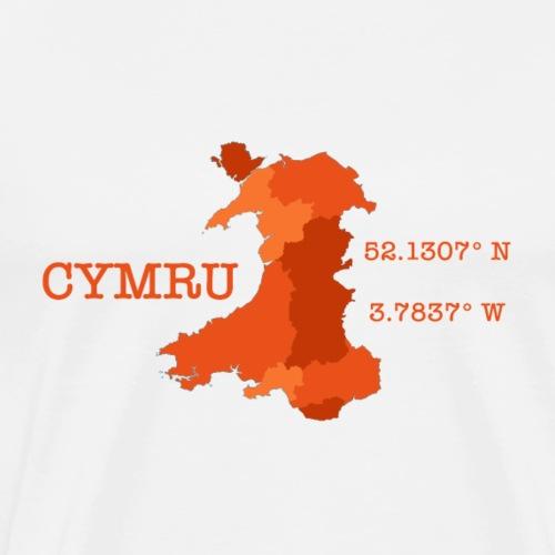 Cymru - Latitude / Longitude - Men's Premium T-Shirt