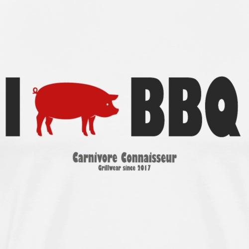 Ich liebe Barbecue - I love BBQ (mit Schwein als H - Männer Premium T-Shirt