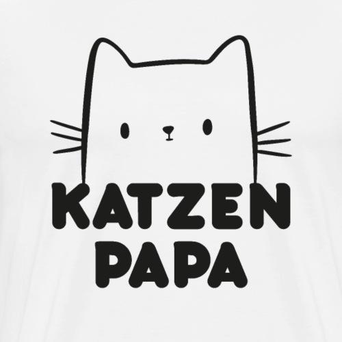 Katzen Papa Katzengesicht Vater Geschenk - Männer Premium T-Shirt