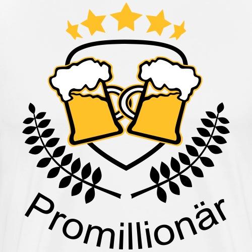 Promillionär Promille Alkohol Bier saufen Sauftour - Männer Premium T-Shirt