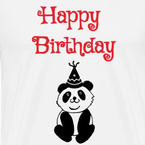 Panda Bär mit Partyhut Happy Birthday Geburtstag - Männer Premium T-Shirt