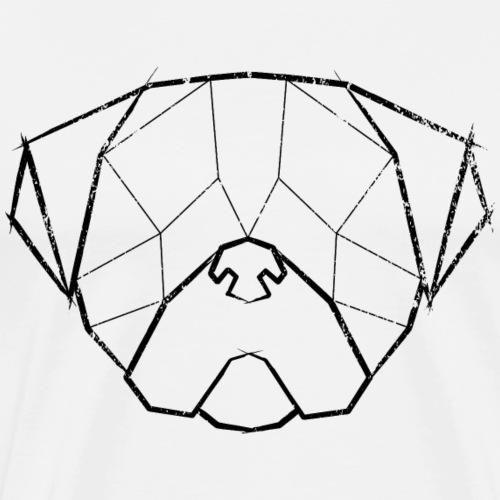 Pug Geometrical Face - Mops Kopf - Vintage schwarz