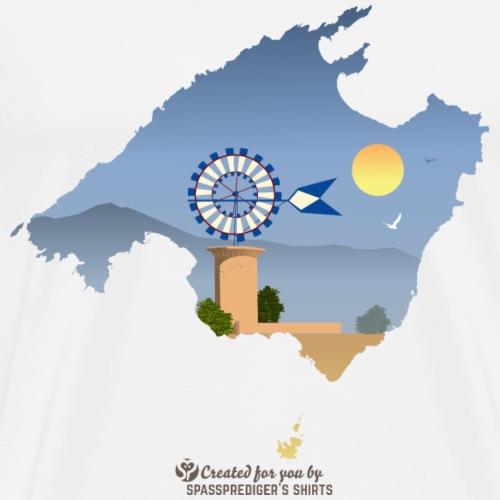 Mallorca Landschaft mit Windmühle vor Gebirge - Männer Premium T-Shirt